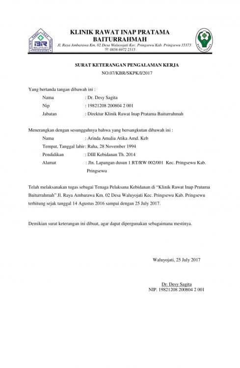 Contoh Surat Pengalaman Kerja Perawat