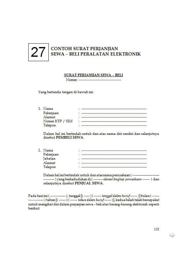 contoh surat perjanjian jual beli barang elektronik