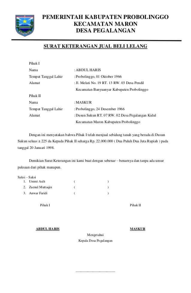 contoh surat perjanjian jual beli tanah sawah