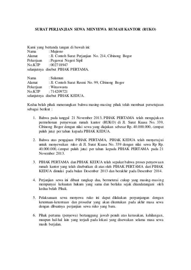 Contoh Surat Perjanjian Sewa Menyewa Ruko 1 Tahun