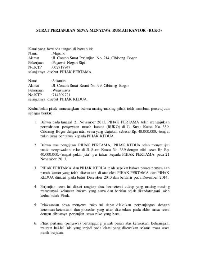 10 Contoh Surat Perjanjian Sewa Kontrak Yang Baik Dan Benar