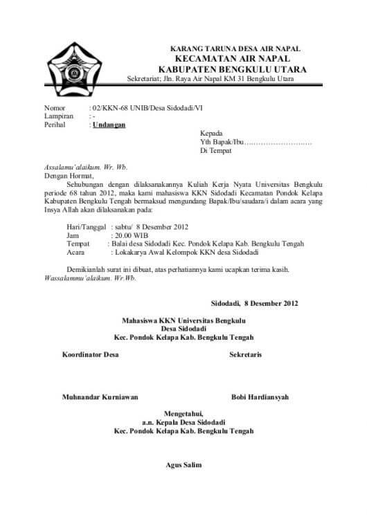 Contoh Surat Undangan Resmi Desa