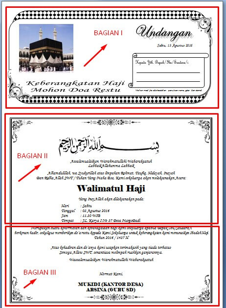 Contoh Surat Undangan Syukuran Naik Haji Lengkap