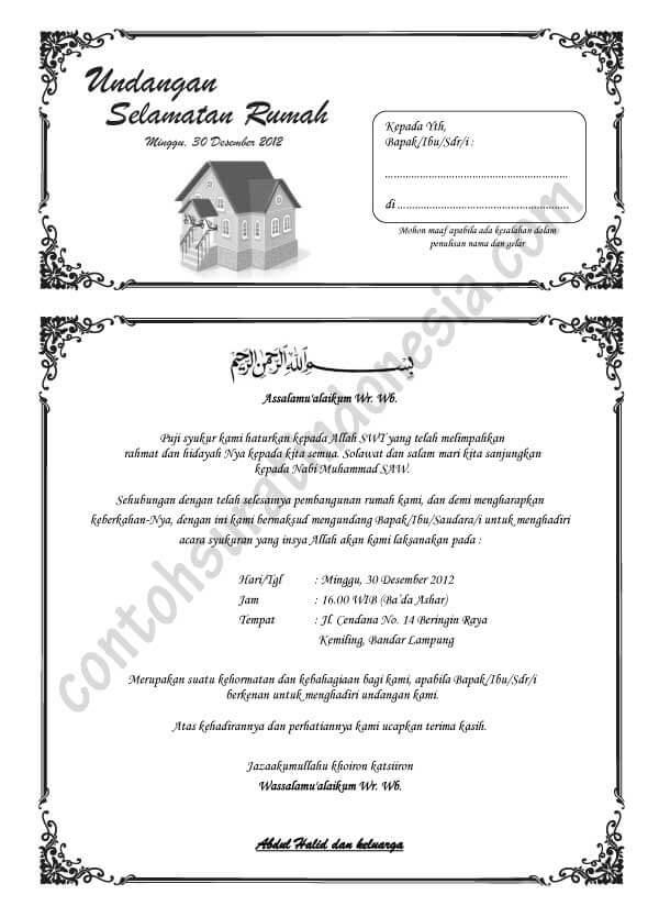 Contoh Undangan Syukuran Rumah Baru
