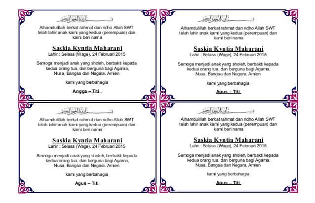 Download Ucapan Aqiqah di Kotak Nasi