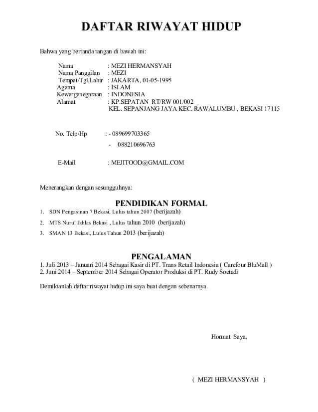 Contoh Daftar Riwayat Hidup (CV) Indomaret
