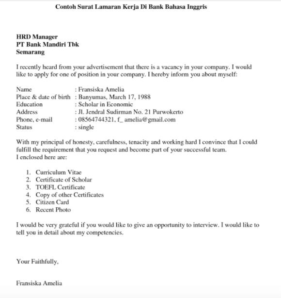 Contoh Surat Lamaran Kerja BUMN Bahasa Inggris