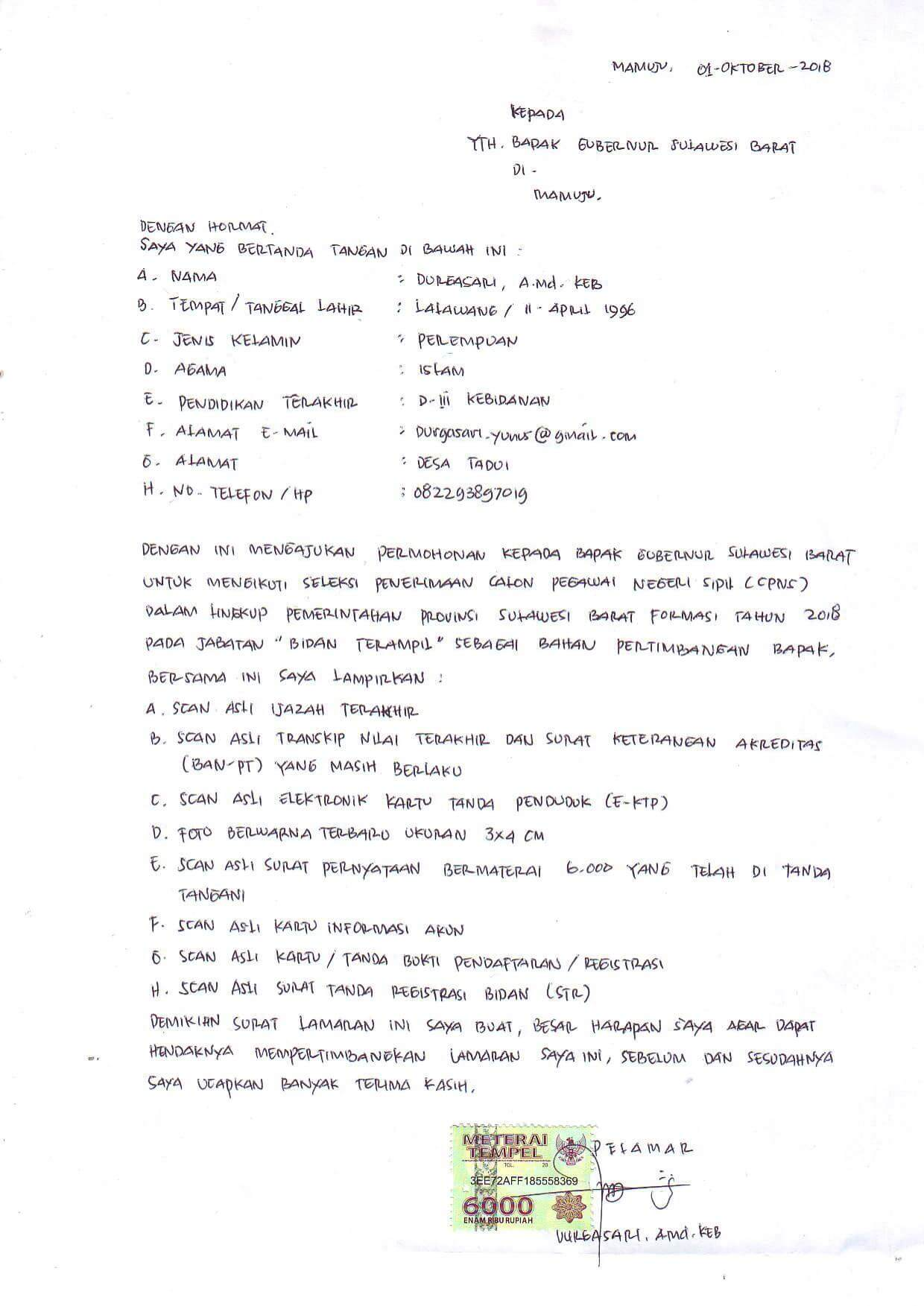 Contoh Surat Lamaran Kerja Rumah Sakit Tulis Tangan