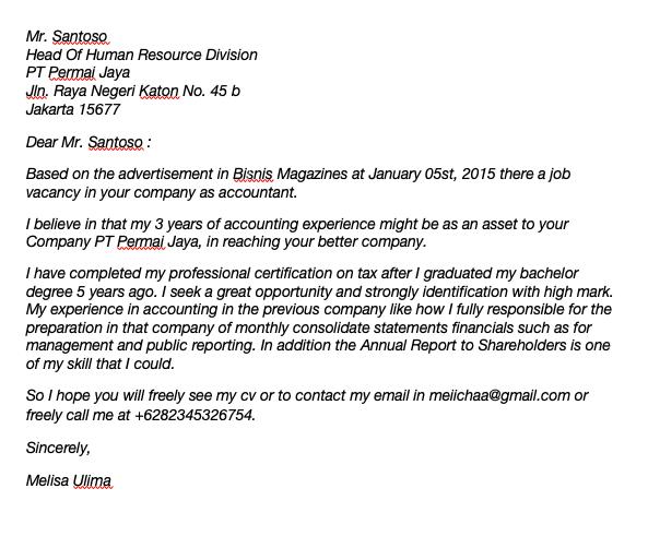 Contoh Surat Lamaran Kerja Sekretaris Dalam Bahasa Inggris