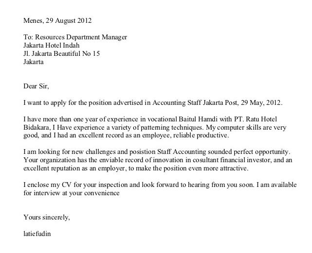 Contoh Surat Lamaran Kerja di Hotel Bahasa Inggris