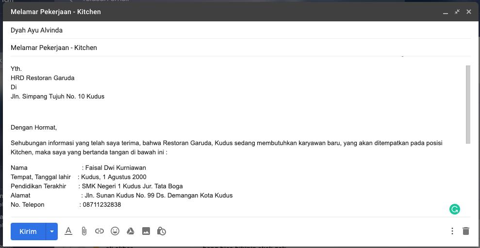 Contoh Surat Lamaran Pekerjaan Dikirim Via email