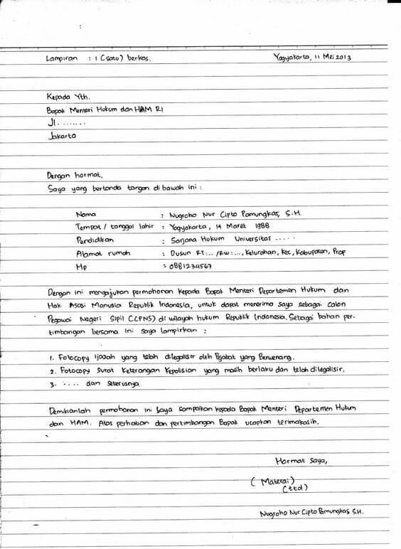 Contoh Daftar Riwayat Hidup Sederhana Tulis Tangan Yang Baik Dan Benar