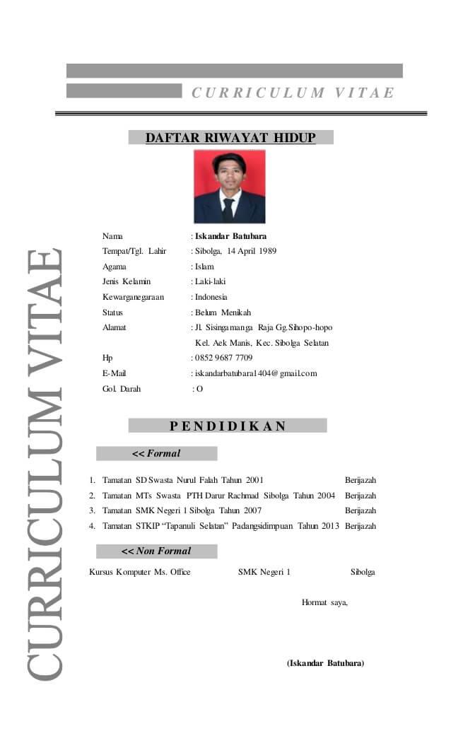 Contoh CV Kerja Di Cafe
