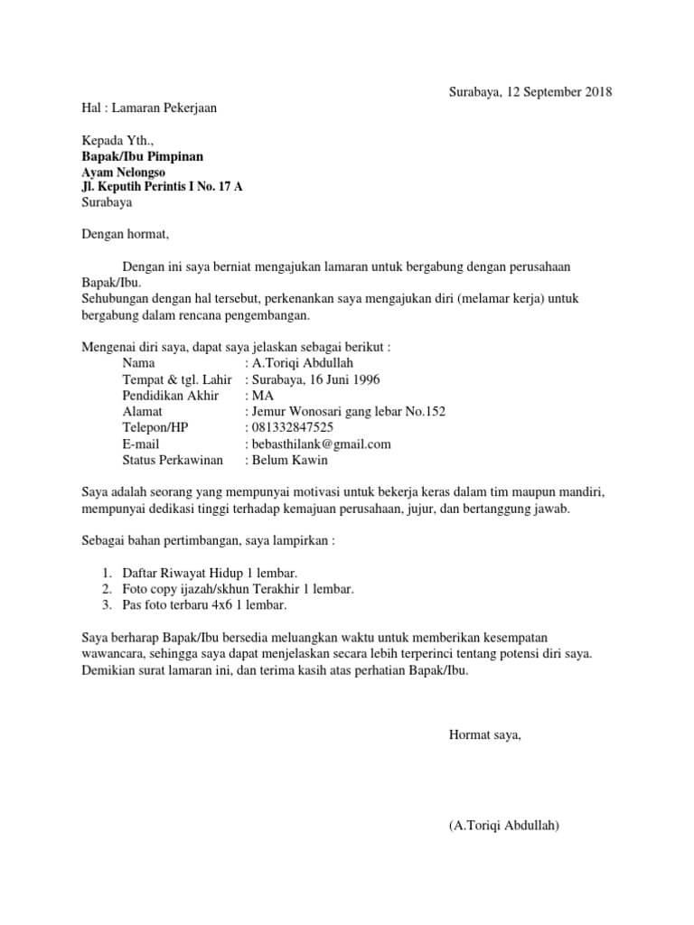 Contoh Surat Lamaran Kerja Di Rumah Makan Ayam Geprek
