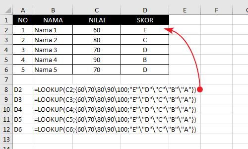 Rumus Lookup Tanpa Reference Table