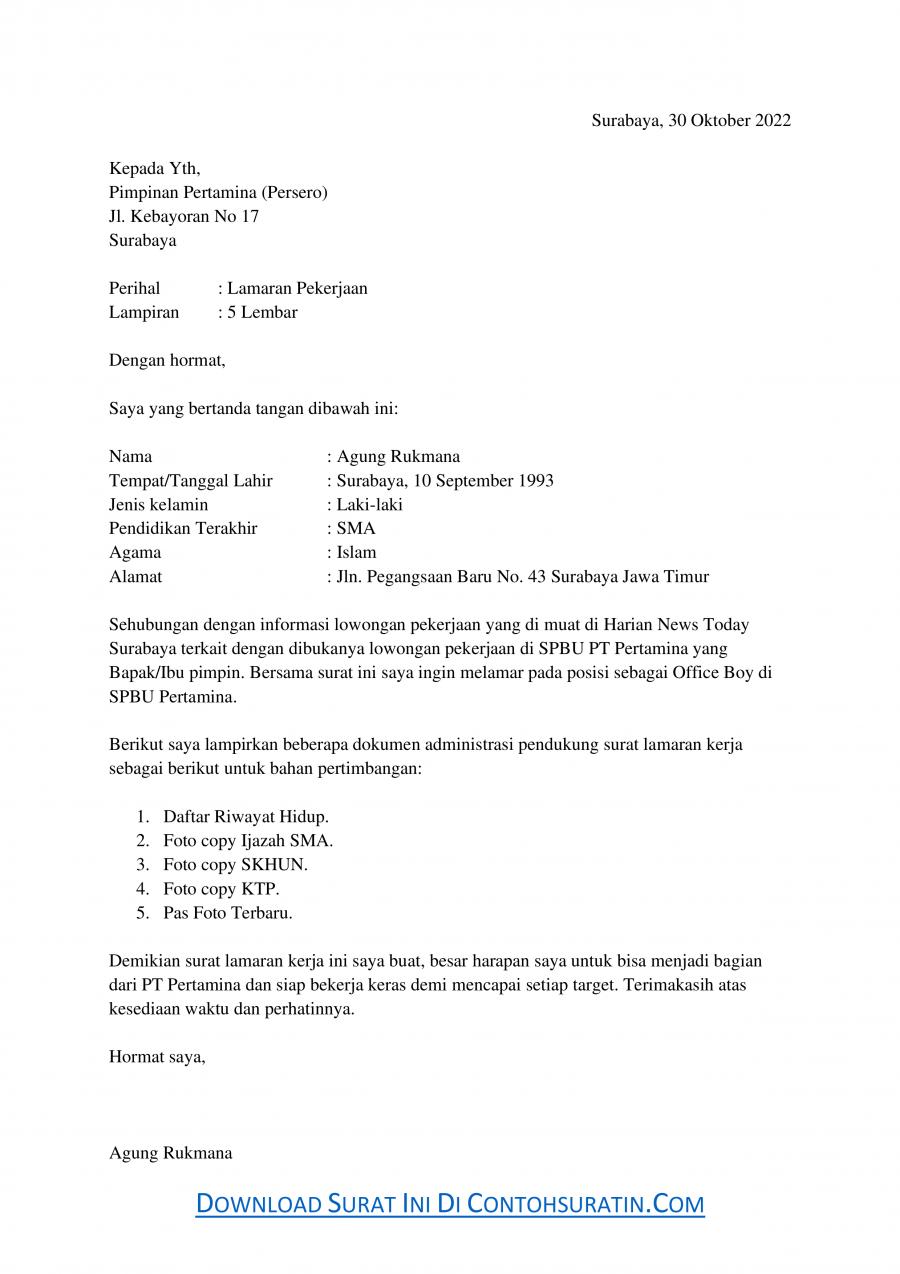Contoh Surat Lamaran Kerja di SPBU sebagai Office Boy