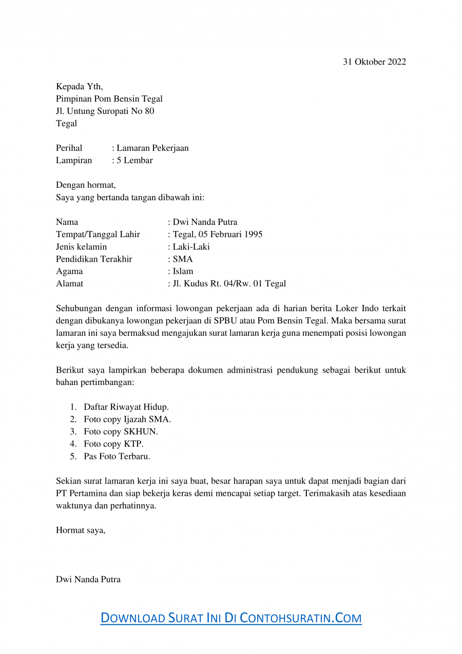 Contoh Surat Lamaran Kerja di SPBU Pom Bensin