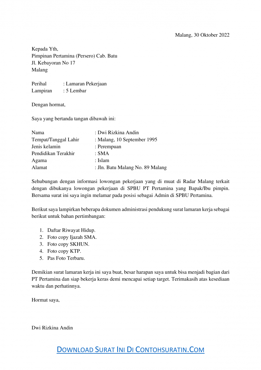 Contoh Surat Lamaran Kerja di SPBU Sebagai Admin