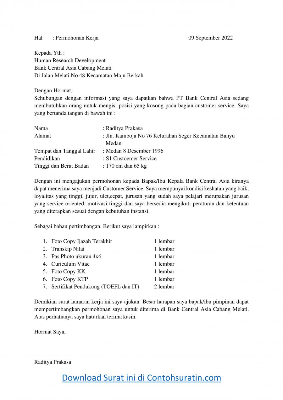 Contoh Surat Lamaran Kerja di Bank BCA Sebagai Customer Service
