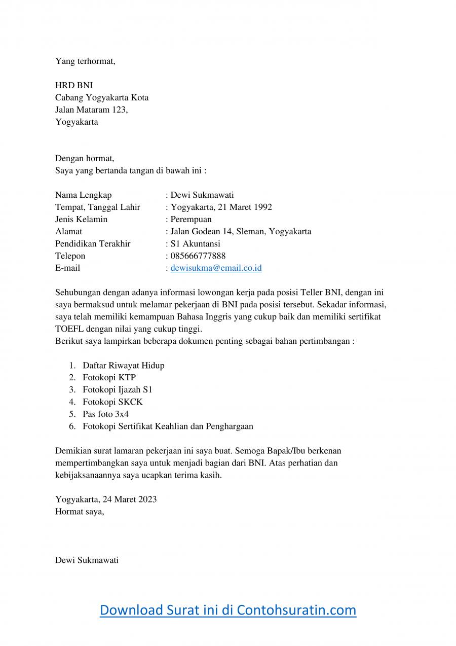 Contoh Surat Lamaran Kerja Di Bank BNI Sebagai Teller