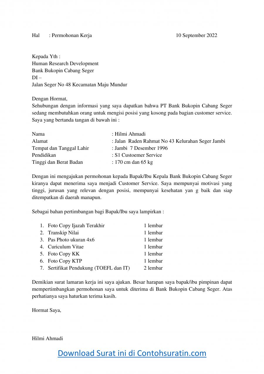 Contoh Surat Lamaran Kerja di Bank Bukopin