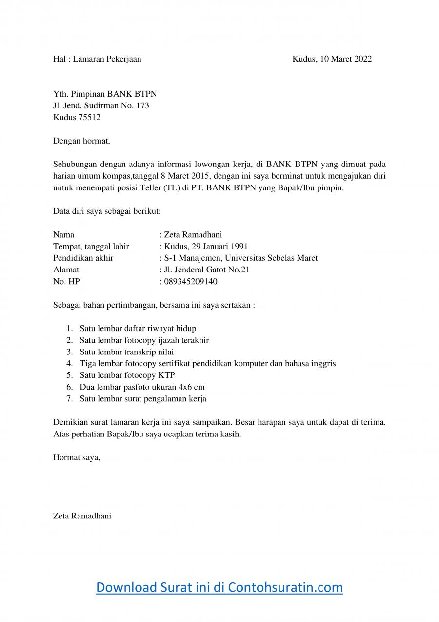 Contoh Surat Lamaran Kerja di Bank BTPN