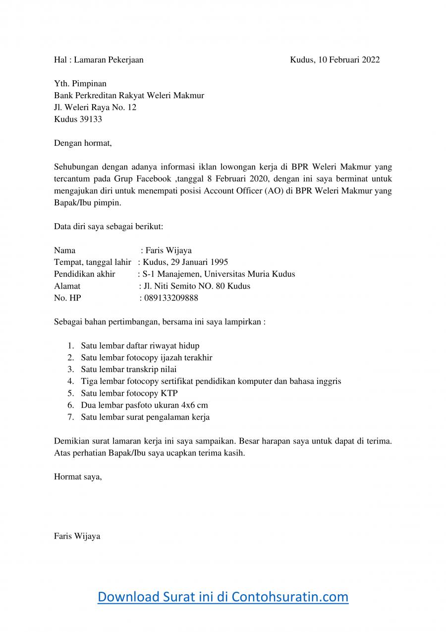 Contoh Surat Lamaran Kerja di Bank BPR Sebagai Staff AO