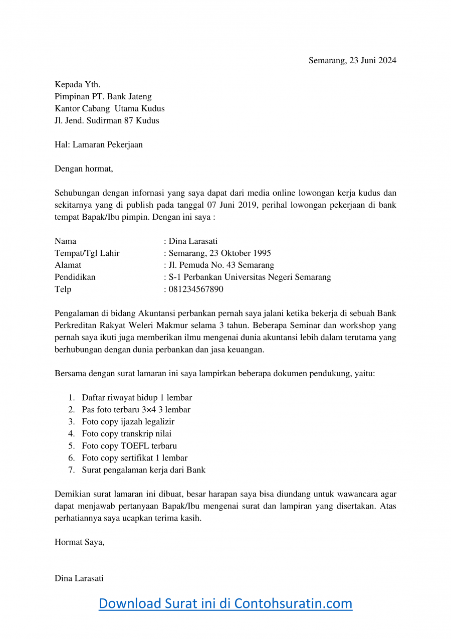 Contoh Surat Lamaran Kerja di Bank Jateng