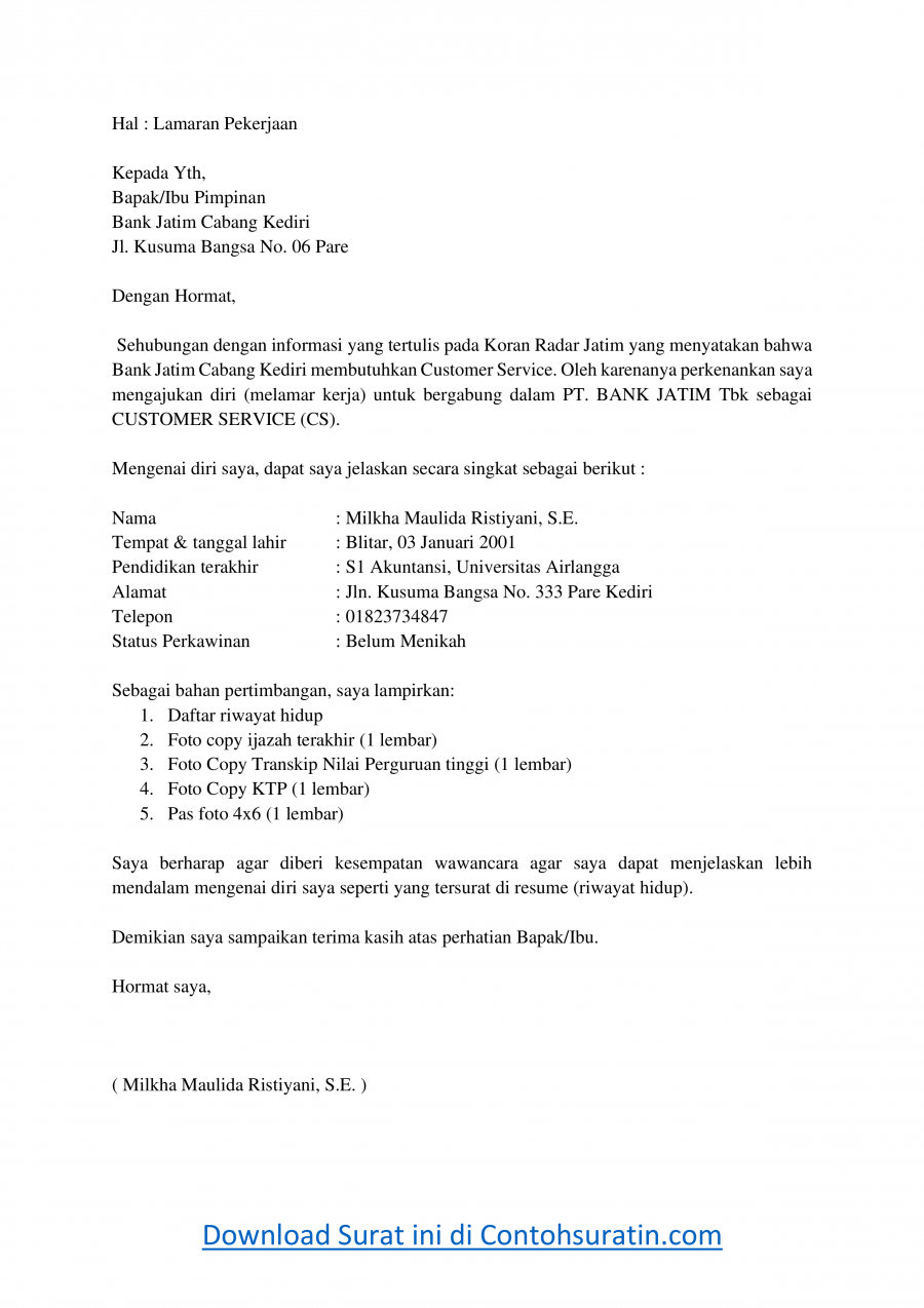 Contoh Surat Lamaran Kerja di Bank Jatim