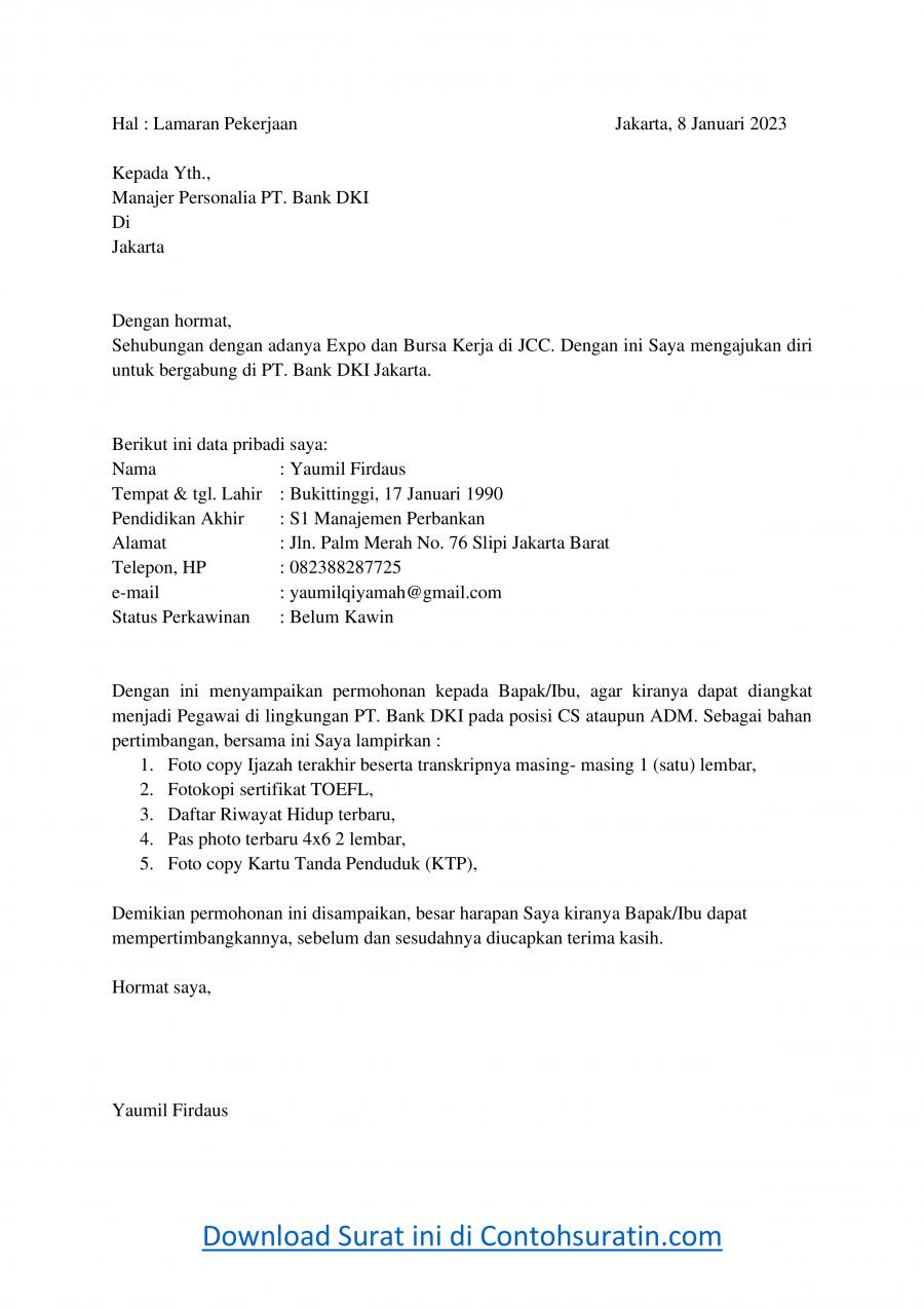 Contoh Surat Lamaran Kerja di Bank DKI Jakarta
