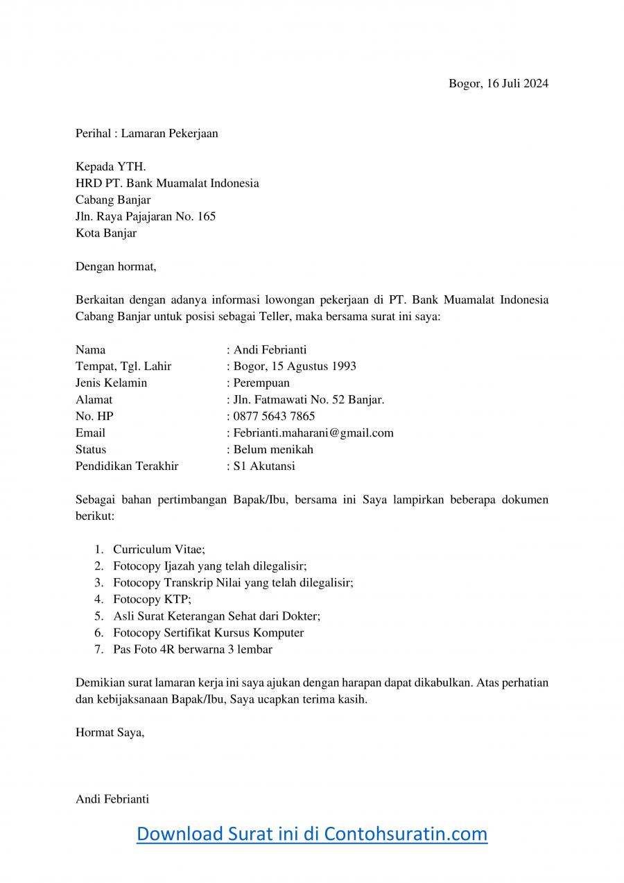 Contoh Surat Lamaran Kerja di Bank Muamalat