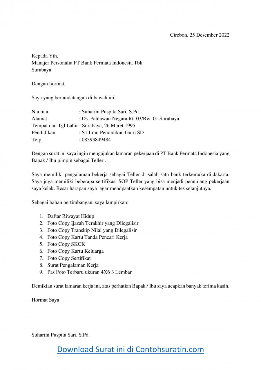 Contoh Surat Lamaran Kerja Bank Permata