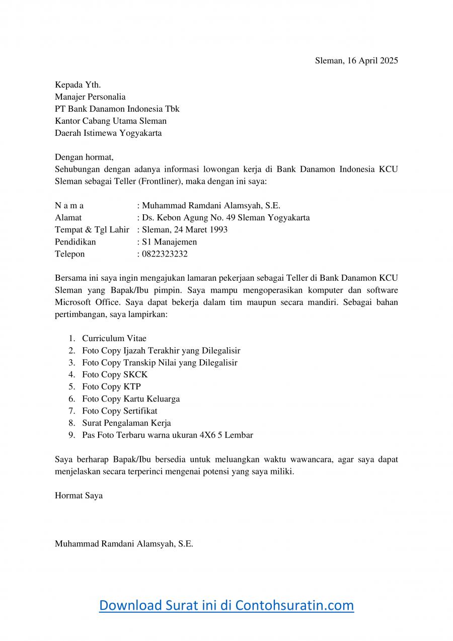 Contoh Surat Lamaran Kerja Bank Danamon