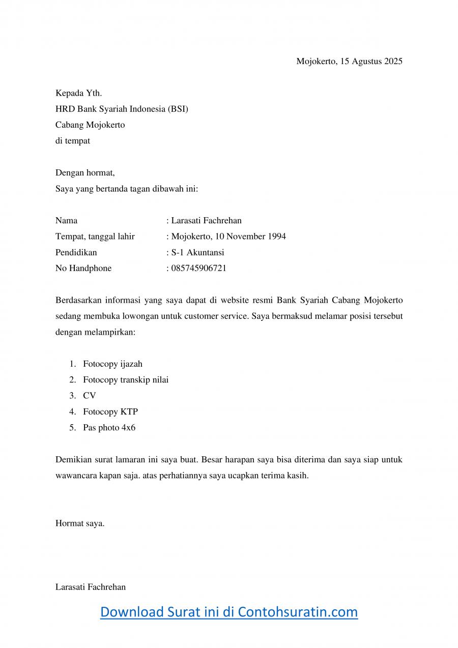 Contoh Surat Lamaran Kerja Bank Syariah