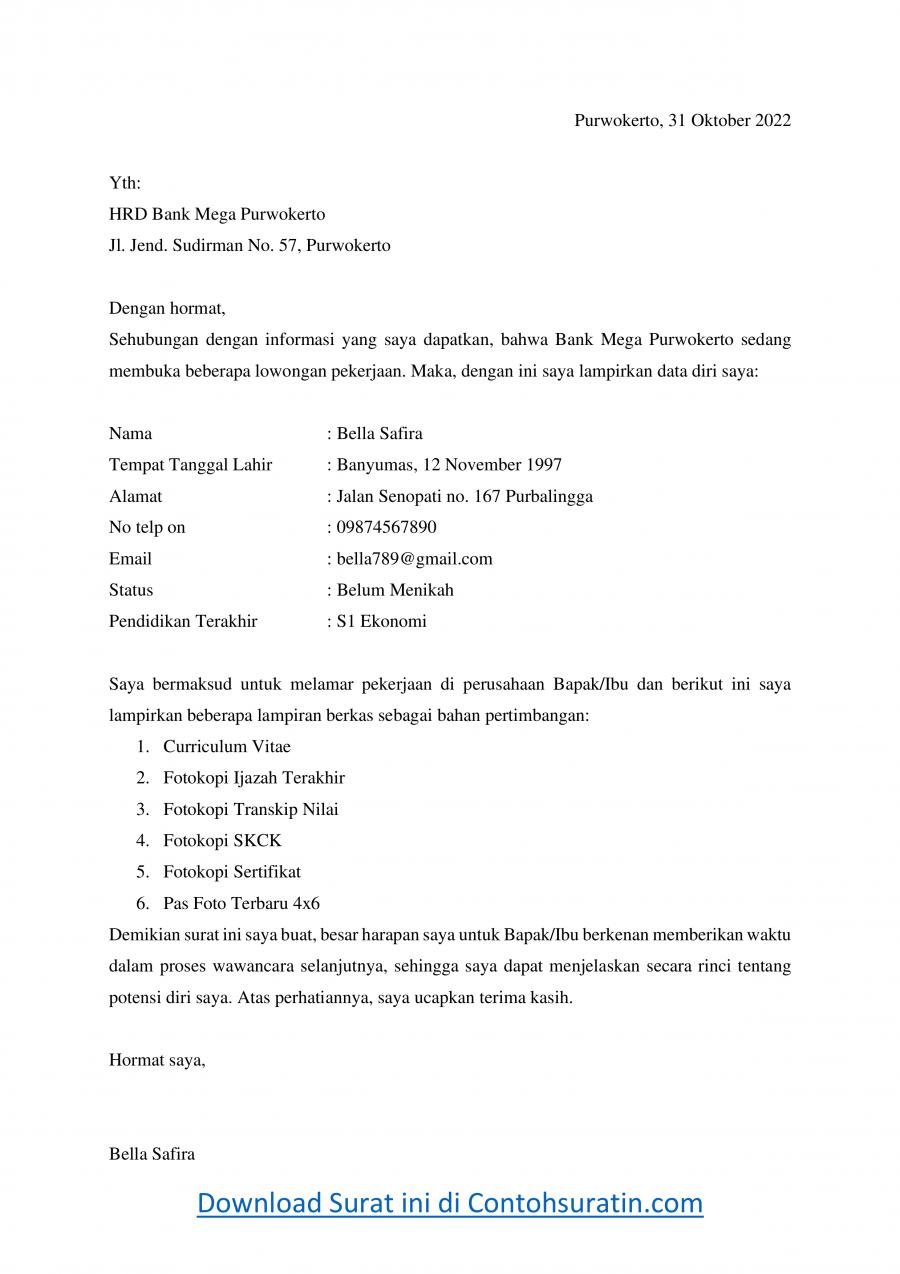 Contoh Surat Lamaran Kerja Bank Mega