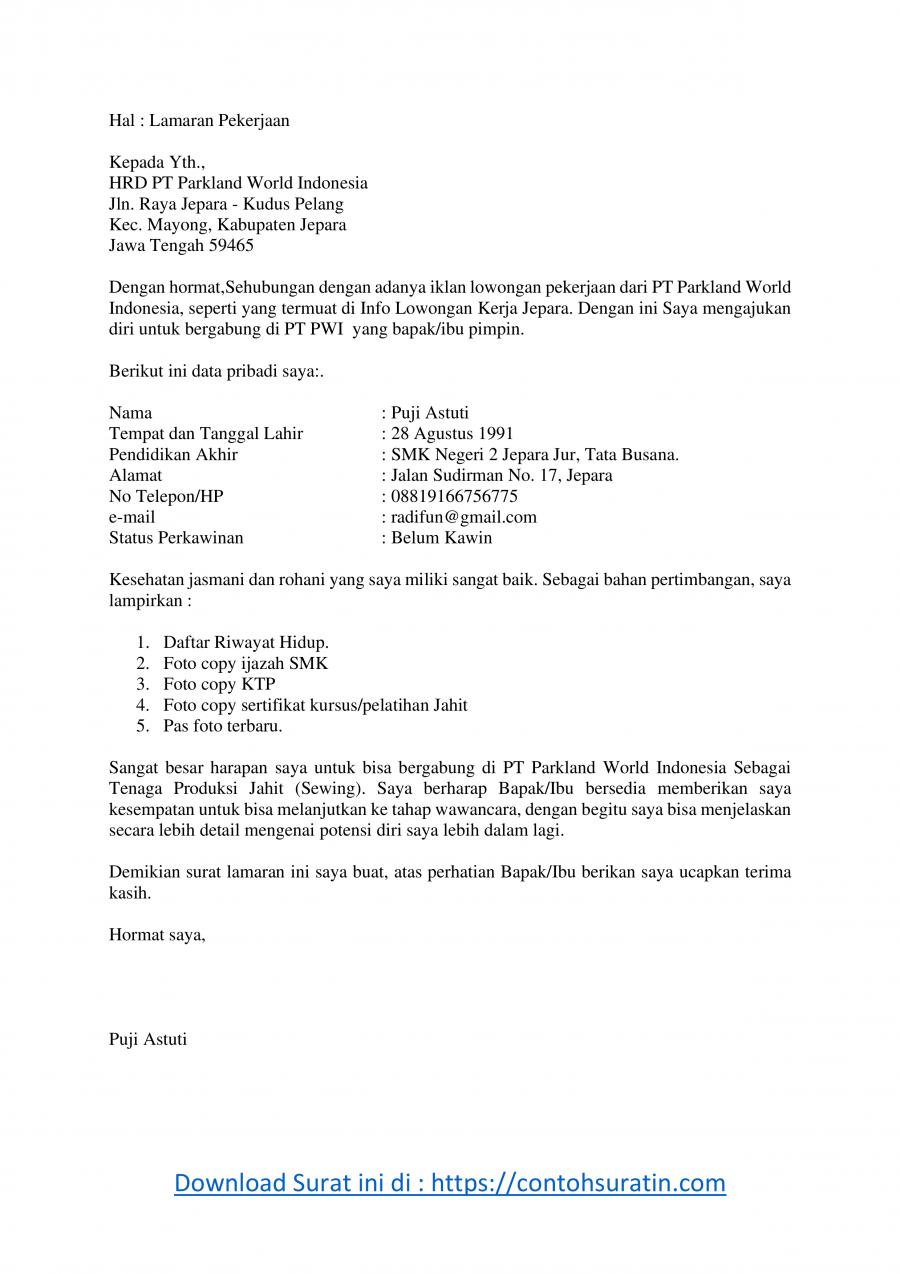 Contoh Surat Lamaran Kerja Di Pabrik Jahit