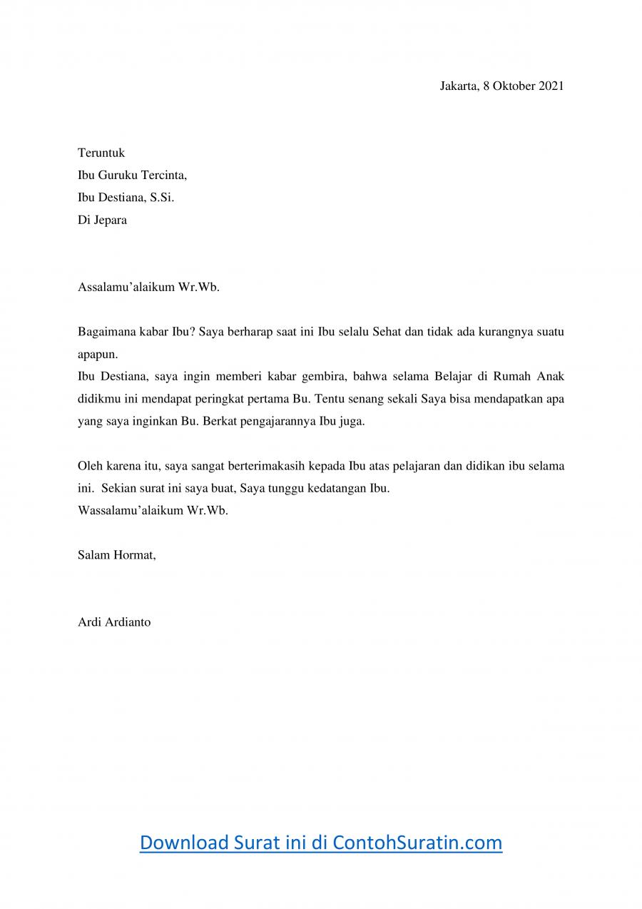 Contoh Surat Pribadi Untuk Guru Selama Belajar Di Rumah Contoh Surat