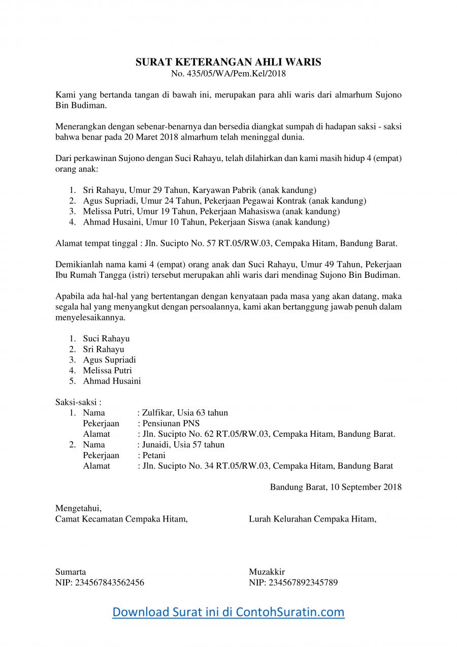 Contoh Surat Keterangan Ahli Waris dari Kelurahan