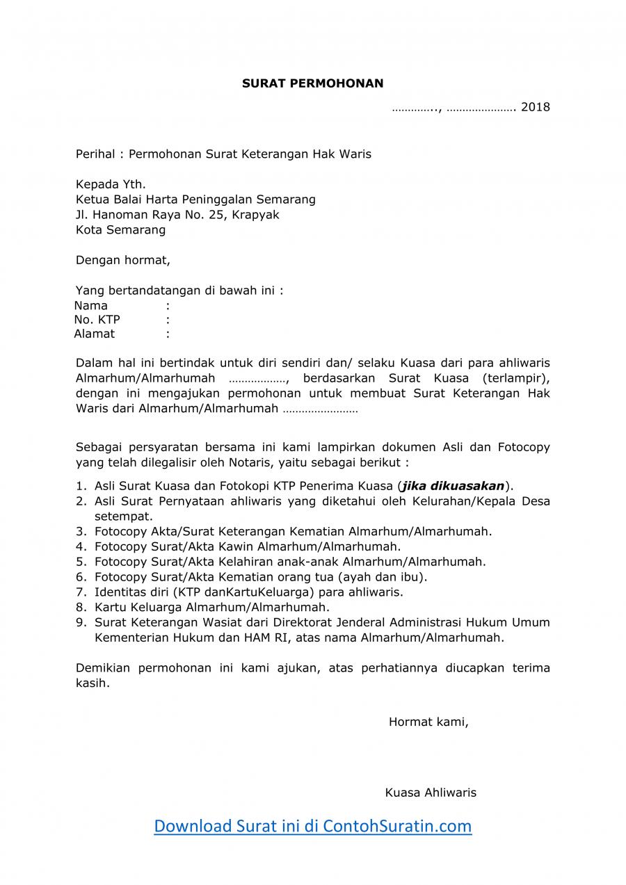 Contoh Surat Permohonan SKHW dan Checklist Dokumen